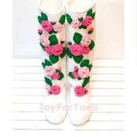 "Wedding boots ""Pink Roses"", Floral women shoes, Low heel wedding shoes, Crochet Bridal shoes, Spring women fashion"