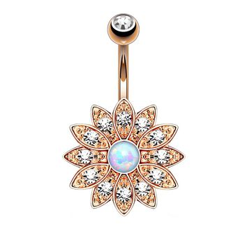 BodyJ4You Belly Button Ring Jeweled Opal Flower Rose Gold Surgical Steel Piercing Jewelry 14G