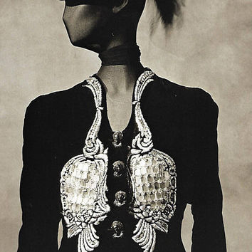vintage schiaparelli couture art print irving penn photograph photo black white image home decor picture fashion designer jacket clothing