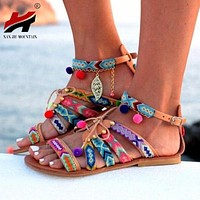 Bohemian Embroidered Flat Gladiator