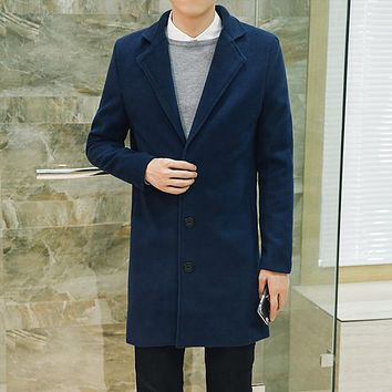 high quality goods Wool woolen cloth Men leisure business long trench coat Maler Pure color casual slim woolen cloth coat jacket