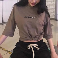"""Nike"" Unisex Retro Loose Casual Letter Embroidery Couple Short Sleeve T-shirt Top Tee"
