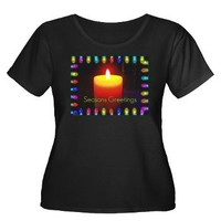 Seasons Greetings Candle Plus Size T-Shirt> Christmas Art> Celebrate A Holida