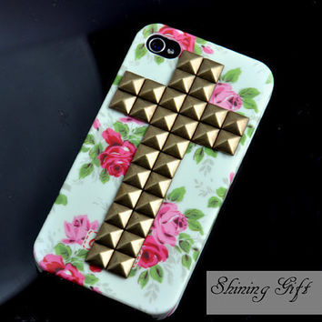 Iphone 4 Case, Cross Antique Bronze stud Iphone case, Flower Rose Iphone 4 Hard Case, Fit Iphone 4, Iphone 4S