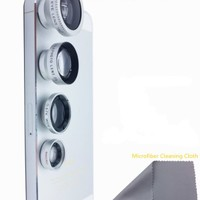 WONBSDOM 4 in 1 Universal Magnetic Detacheable Fish Eye Lens+Macro+Wide Angle+Telephoto Lens(Silver)with Microfiber Cleaning Cloth for iPhone 4S 5 5S 5C 6 itouch iPad Samsung Galaxy S4 S5 Note 2/3/4 HTC Sony Nokia,etc.
