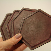 leather coasters. Set of custom hand tooled leather coasters