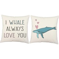 Whale Always Love You Love Pun Throw Pillows