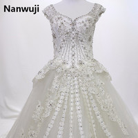 Real Photos bling crystal beadeds luxury wedding dress mermaid long tail see through corset lace up bridal gown vestido de noiva