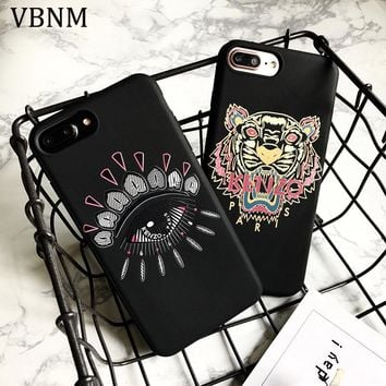 VBNM Tiger Head Fashion Mobile Phone Case For iPhone 7 Plus Luxury Silicone Phone Case For iPhone 6s 6 7 8 X 10 Back Cover Coque