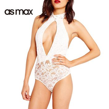 asmax Apparel White Backless Sleeveless Hollow Out Romper Sexy Lace Sheer Halter Asymmetrical Jumpsuits Casual Slim Bodysuits