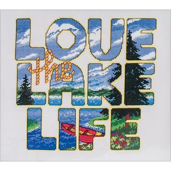 "Love The Lake Life Counted Cross Stitch Kit-9.25""X10.25"" 14 Count"