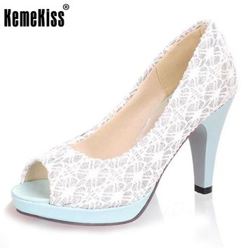 KemeKiss Ladies Stiletto High Heels Peep Toe Shoes Dress Shoes Women Wedding Lace Slip-On Platform Pumps Size 31-43 PA00382