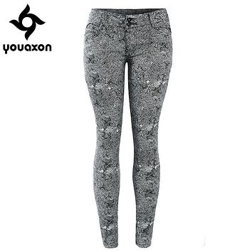 1898 Youaxon Women`s 4 Colors High Street Low Waist Stretch Skinny Denim Jeans For Woman Free Shipping