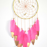 Boho Nursery Dreamcatcher, Coral Pink Gold Dreamcatcher, Girls Bedroom Decor,Baby Shower Gift, Boho Baby Girl Nursery Decor,
