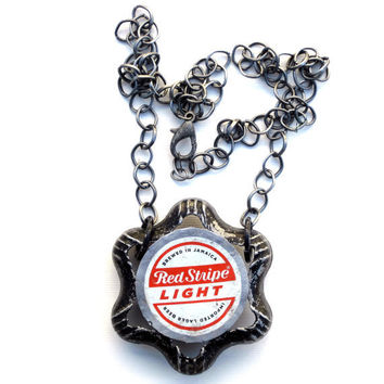 Recycled Beer Bottle Cap Necklace Red Stripe Light