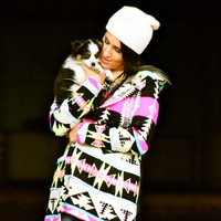 BRIGHT MULTI COLORED AZTEC SWEATER WITH HOOD