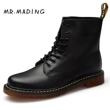 MRMADING Men Boots Shoes Unisex High Help Martens Shoe Famous Designer Retro Full Grain Leather Couple Casual Shoes Martin Boots
