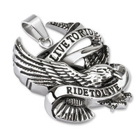 """Live to Ride Ride to Live"" Eagle Biker Pendant w/Necklace"