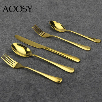 AOOSY Flatware Set Simple Modern 5-piece Gold Plated Stainless Steel Cutlery Dinner Spoon Knife Fork Mirror Polishing 1set