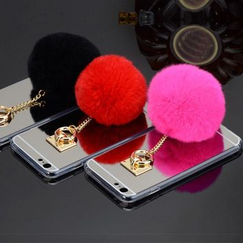 Fashion Metal Rope TPU Mirror Cute Rabbit Fur Ball Phone Cases For iPhone5 5S 6 6S Plus 7 7plus Back Cover