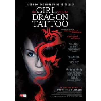 Girl With The Dragon Tattoo Movie poster Metal Sign Wall Art 8in x 12in