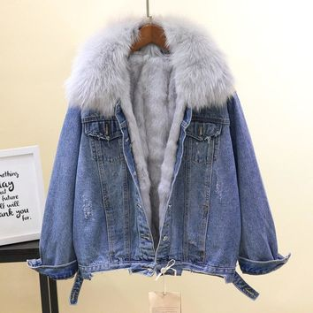 Trendy Winter Short Denim Jacket Woman Fashion Thickened Warm Coat Natural Fox Fur Collar + Real Rabbit Fur Liner Coat Overcoat Femme AT_94_13