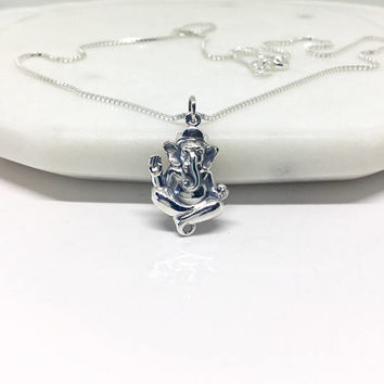 Ganesh Elephant Necklace Sterling Silver Elephant Ganesha Silver pendant Small Charm Succes Luck Talisman Necklace