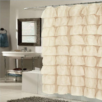 Betty Ruffled Voile Layers Shower Curtain 70 x 72