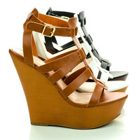 Stef01 Open Toe Gladiator Faux Wooden Platform High Wedge Sandals