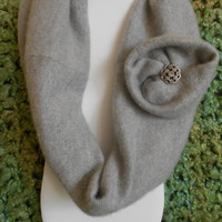 Light Gray Cashmere Infinity Scarf with detachable flower and buckle, Womens, Upcycled, Teens