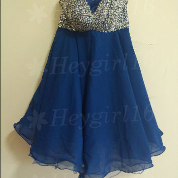 Pretty Royal Blue Beaded A-line Sweetheart Neckline Mini Prom/Graduation/Homecoming Dress