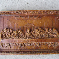 1930s 1940s Scaffolded 3D Jesus Last Supper Art / Jesus Disiples / Antique Carved Religious Icons / Da Vinci Replica  Last Supper
