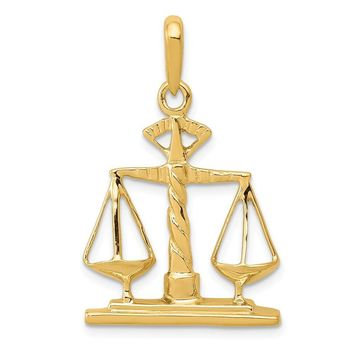 14k Yellow Gold Scales of Justice Polished Pendant