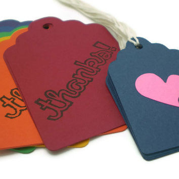 THANKS Tags in Rainbow Colors - set of 12 w/Bonus mini heart tags - HANDMADE by the KIDS