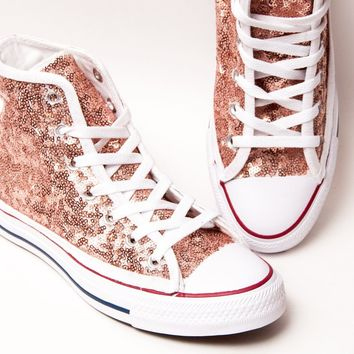 Rose Gold High Top Sequin Name Brand Canvas Sneakers