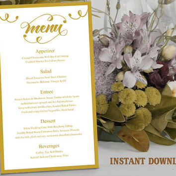 Printable Wedding Menu Template DIY Menu Card Template, Script Menu Template, Editable Menu, Gold Menu Download Calligraphy Menu, Swirl Menu