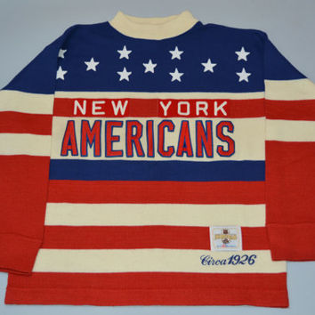 Vintage CCM Heritage Circa 1926 NHL New York Americans Hockey Sweater Size XL Extra Large