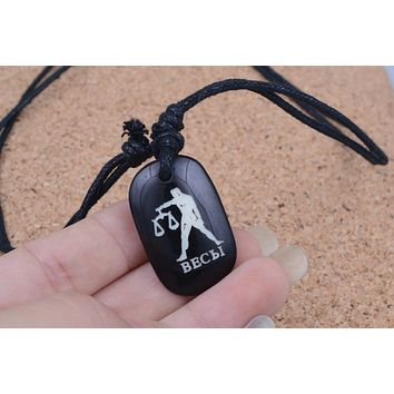 Yak Bone Necklace Carved Libra Zodiac Constellation