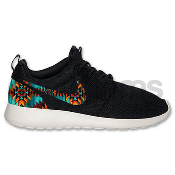 Nike Roshe Run Black White Aztec Triabl Print Custom 9a17d9a16a1b