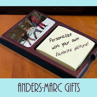 Personalize Mahogany Sticky Note Holder with any Photo * Or Add a Monogram, Initials or Name * Office Accessories Wedding, Housewarming Gift