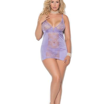Satin Babydoll with Floral Lace Cups Queen Size