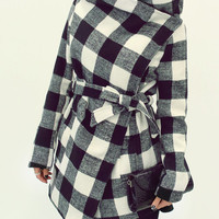 Check winter long coat, jacket, women blazer, warm coat, outwear