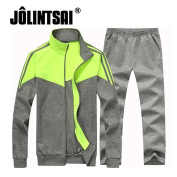 2 Pieces Set 2017 Stand Collar Hoodie Casual Sets Men Sporting Suits Patchwork Tracksuit Brand Male Sweatshirts +Pant Plus Size