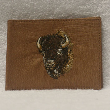 Leather Bifold Wallet - Bison Head