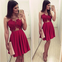 Red Sexy Homecoming Dresses,O-Neck Lace Satin Homecoming Dress