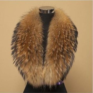 DCCKJG2 2014 Winter 100% Real Raccoon Fur Collar, Natural Big Raccoon Collar Scarf Be-1411 Free Shipping