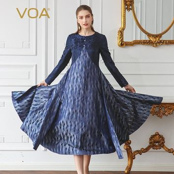 VOA Heavy Yarn-dyed Silk Jacquard High Waist Women Dress 5XL Plus Size Vintage Navy Blue Pearl Clasp A Line Dress ALX18001