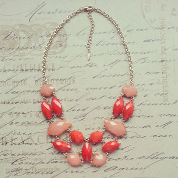 J Crew Inspired Statement Necklace, Bridesmaid Gift or Mother's Day Gift, Bib Necklace, Coral, Peach, Salmon, Chunky Necklace