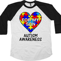 Autism Mom Shirt Dad T Shirt Autism Awareness Puzzle Piece Awareness Month TShirt Autistic Support For My Son Baseball Raglan Tee - SA1037