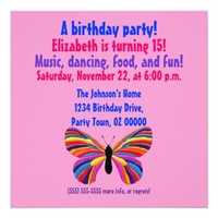"Impossible Butterfly - Birthday Party 5.25"" Square Invitation Card"